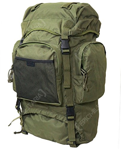 MIL-TEC 55L Tactical Commando Military Army Rucksack Hiking Pack in Black, Olive and Flecktarn Camo (Internal Frame)
