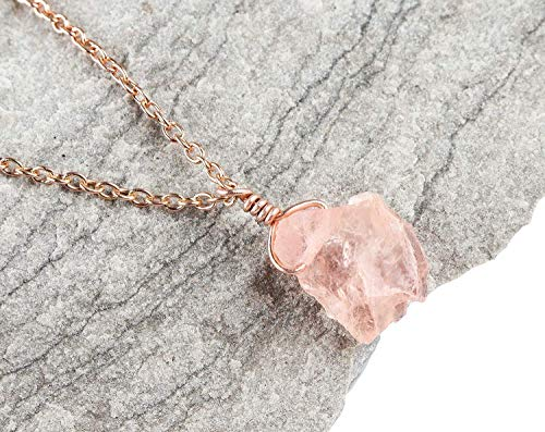 Raw Peach Morganite Gemstone Crystal Dainty Pendant Jewelry 925 Sterling Silver Chain Natural Rough Gemstone Raw Gemstone Jewelry 925 Sterling Silver Chain Necklace for Women 14K Gold Gemstone Pendant