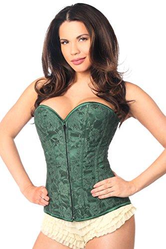 Daisy corsets Women's Lavish Lace Overbust Corset W/Zipper, Dark Green, Small - Dark Green Corset