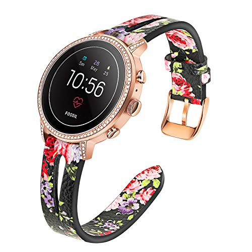 TRUMiRR Floral Watchband for Fossil Womens Gen 4 Venture HR/Gen 3 Q Venture, 18mm Flower Genuine Leather Watch Band Quick Release Strap for Fossil Womens Gen 4 Sport/TicWatch C2 Rose Gold
