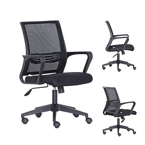 Bonsaii Mid-Back Ergonomic Mesh Computer/Office/Desk/Task Chair, 360° Swivel and Mesh Padded Seat, Black (MB-N30B) by bonsaii