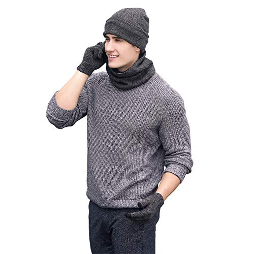 Winter Men Beanie Hat + Scarf + Touch Screen Gloves, 3 Pieces Winter Warm Clothing Set for -