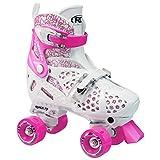 #3: Roller Derby Girl's Trac Star Adjustable Roller Skate, White/Pink