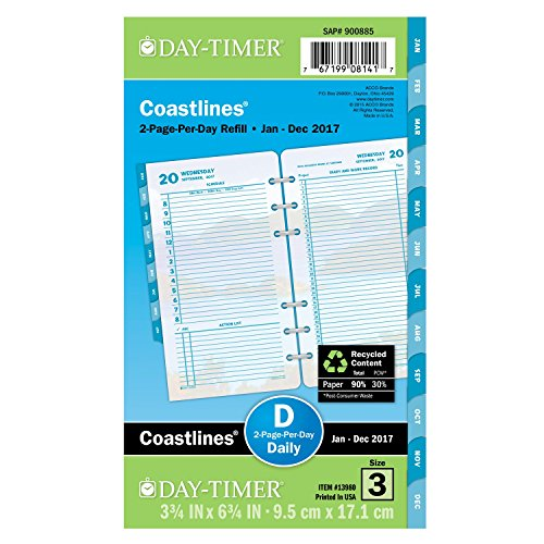 "Day-Timer Daily Planner Refill 2017, Two Page Per Day, Loose-Leaf, 3-3/4 x 6-3/4"", Portable Size, Coastlines (13980)"
