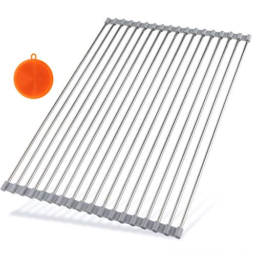 Hhyn Stainless Steel Roll Up Dish Drying Rack, Large, - Rack The Drying Sink Over