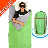 sleeping bag - FARLAND Lightweight Sleeping Bag& Portable Waterproof Envelope Bag With Compression Sack -Perfect For Summer Traveling, Camping, Hiking,Outdoor Activities(Green / Right Zip)