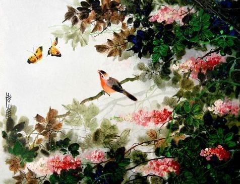 ポリエステルのキャンバス、高解像度アート装飾プリントキャンバス油彩画`美しい中国の鳥と花ペイント`、18x 23インチ/ 46x 59cm is best forパウダー部屋装飾とホームギャラリーアートとギフトの商品画像