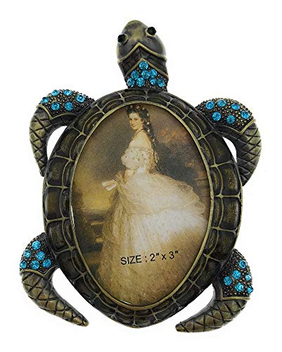 Austrian Crystal Turtle - Welforth Sea Turtle Picture Frame with Blue Austrian Crystals, Holds 2 Inch by 3 Inch Photo, 4.25 Inches Tall