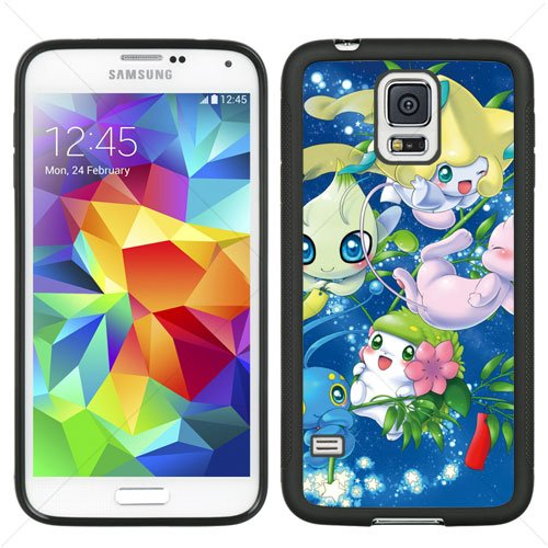Pokemon Cute PIKACHU Samsung Galaxy S5 SV I9600 TPU Soft Black or White case (Black)
