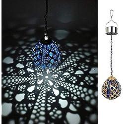 Kaixoxin Solar Hanging Lights Outdoor Decorative Globe Solar Lights Pendant Ball Balloon IP44 Waterproof (Blue)