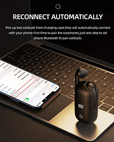 GIEC Bluetooth Earbuds with 24H Playtime DSP Noise Cancelling Wireless Earbuds with LED Display Bluetooth Earphones with Charging Case Bluetooth 5.0 Headset with Mic Wireless Earphones for Phone