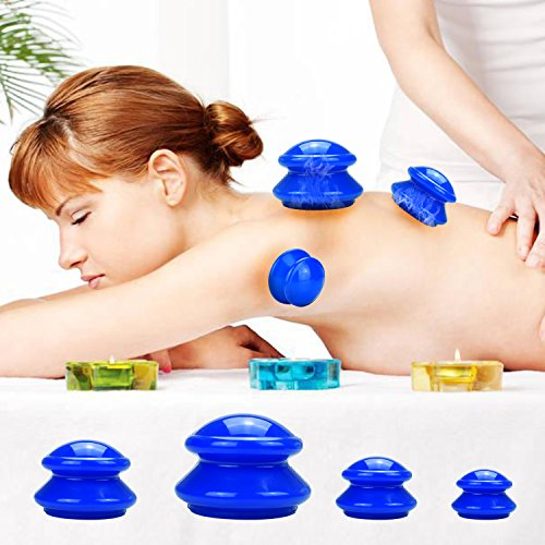 Freshday 4 Cups Silicone Cupping Therapy Set for Massage Medical, Chinese Vacuum Massage Suction Cup Cupping Set (Blue)