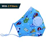 Muryobao Anti Pollution Mask N95 Respirator Mask with Valve Replacement Filter Washable Cotton Anti Dust Mouth Mask for Kids Children Child Size Blue car
