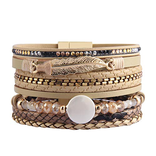 - AZORA Leather Cuff Bracelet Multi Rope Wrap Bangle with Pearl Metallic Heart Cuffs Bracelets for Women Teen Girl Gift (AL0020-BEIGE)