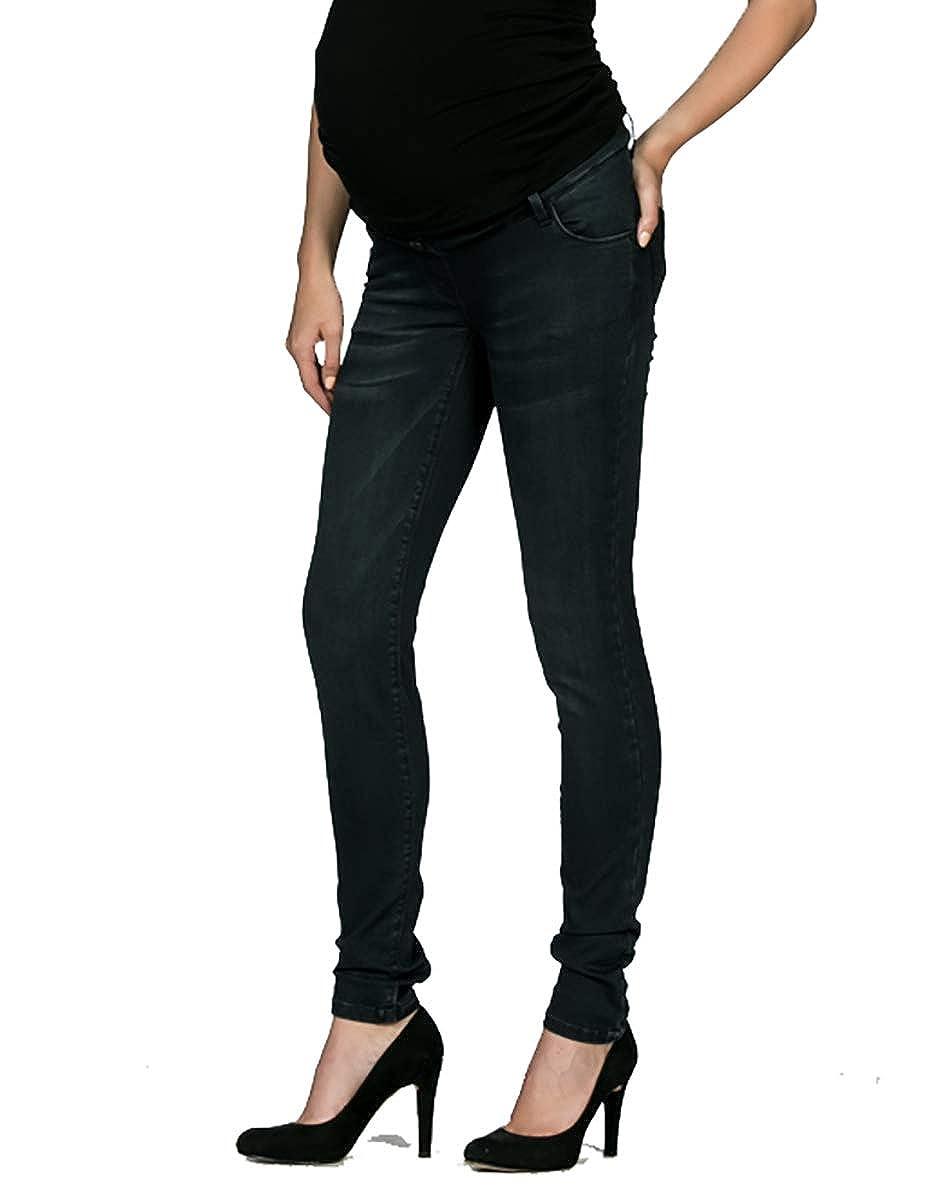 Love2Wait Schwangerschafts-Jeans Damen Umstandshose SOPHIA st/ützendes Bauchband normaler Bund Bootcut weites Bein used Look