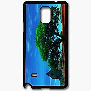 Unique Design Fashion Protective Back Cover For Samsung Galaxy Note 4 Case Green Shady Tree Nature Black