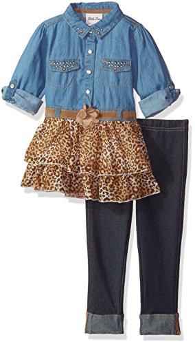 Cotton Leopard Legging Set (Little Lass Toddler Girls' 2 Pc Leopard Denim Legging Set, Tan, 3T)