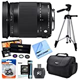 Sigma 18-300mm F3.5-6.3 DC Macro OS HSM Lens (Contemporary) for Canon EF Cameras includes Bonus Vivitar UV, Polarizer & FLD Deluxe Filter Kit and More