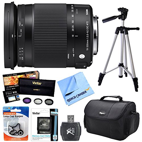 Beach Camera Sigma 18-300mm F3.5-6.3 DC Macro OS HSM Lens (Contemporary) for Nikon DX Cameras includes Bonus Vivitar UV, Polarizer & FLD Deluxe Filter Kit and More by Beach Camera
