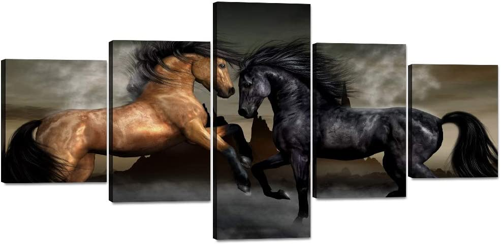 Yatsen Bridge 5 Piece Wall Art Print Black Horses Canvas Painting for Living Room Home Decor Prints and Poster Animal Pictures Modern Set Wooden Framed Ready to Hang for Office(50''W x 24''H)