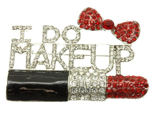 I Do Makeup Pin Brooch C22 Lipstick Bow Clear Red Crystals Rhodium Word Art (Makeup Brooch)