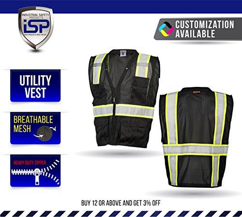 ML Kishigo Enhanced Visibility Multi Pocket Black Mesh Vest (S/M)