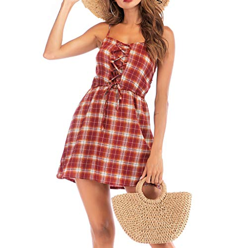 Women's Tie Strap Floral Print Mini Sun Dress Plaid Summer Wear Front Shirred CRIS Cross Splice Dresses(Red,L