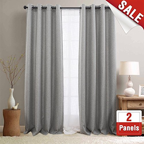 2 Panel Curtain Set - jinchan Textured Linen Curtain Panels Bedroom Drapes Living Room Drapes Thermal Insulated Room Darkening Window Treatment Set, Grommet Top (2 Panels, L108-Inch, Grey)