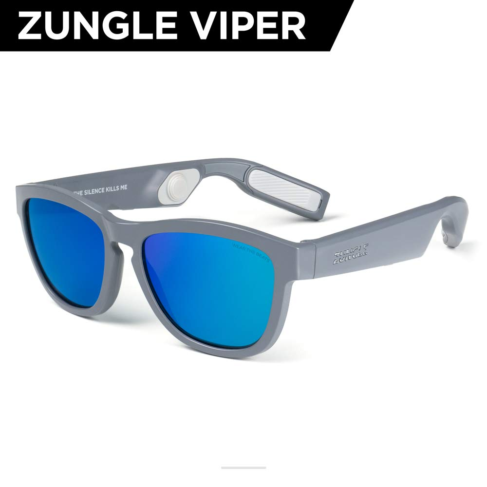 ZUNGLE V2 : Viper, Sunglasses with Open Ear True Wireless Bone Conduction Bluetooth 5.0 Headphones, for Men, Built-in Mic, Music, Phone Call, AI Assistance (Matte Gray)