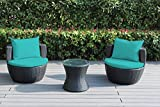 Ohana 3-Piece Outdoor Patio Furniture Conversation Set, Black Wicker with Turquoise Cushions – No Assembly For Sale