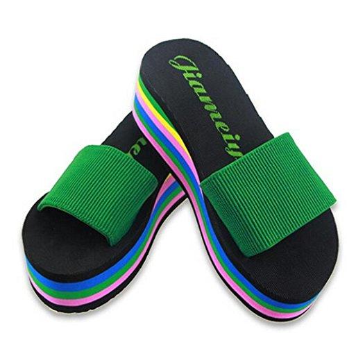 Chaussons Tonsee® Plage Femme Vert De Sandals Summer Femmes Non slip Rainbow 00zxwP