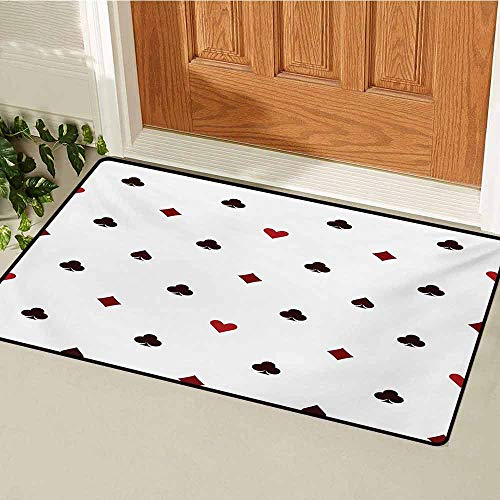 GUUVOR Casino Inlet Outdoor Door mat Gambling Club Lifestyle Fortune Luck Advertise Minimalistic Design Artwork Catch dust Snow and mud W35.4 x L47.2 Inch Red Ruby Maroon
