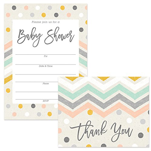 Pastel Baby Shower Invitations (25) & Matching Thank You Notes (25) Set with Envelopes Boy Girl Mommy-to-Be Gender Neutral Polka Dots Chevron Fill-in Invites & Folded Thank You Cards Great Value