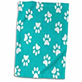 3D Rose Teal Blue and White Paw Print Pattern - Turquoise Pawprints - Cute Animal Eg Dog Or Cat Footprints Towel, 15'' x 22'', Multicolor