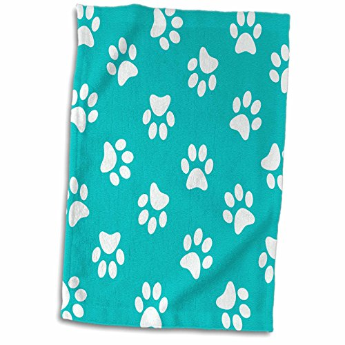 3D Rose Teal Blue and White Paw Print Pattern - Turquoise Pawprints - Cute Animal Eg Dog Or Cat Footprints Towel, 15'' x 22'', Multicolor by 3dRose