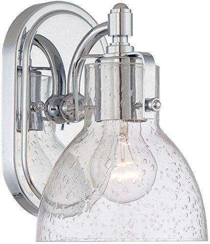 Minka Lavery Urban Industrial Wall Sconce Lighting 5721-77, Transitional Bath Glass Damp Bath Vanity Fixture, 1 Light, Chrome