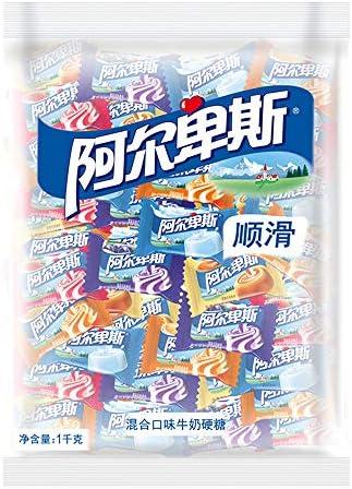 糖果 キャンデー 阿尔卑斯牛奶混合硬糖(源味、草莓、甜橙、葡萄、特浓) 散袋装1kg(约250颗)