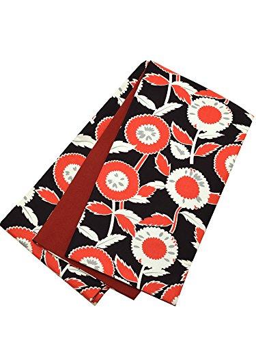 スキャンダラスアラブ囲む[ kimonomachi ] 京都きもの町 オリジナル 木綿 半幅帯「黒×赤 レトロフラワー」
