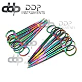 DDP Set of 12 Multi Titanium Color Rainbow Iris Scissors 4.5'' Straight & Curved Stainless Steel