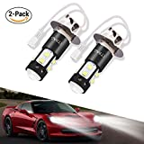 ACUMSTE 2pcs H3 LED Fog Lights Bulbs, 50W 1960Lumens Extremely Bright H3 LED Car Fog Lamps Xenon White 6000K Powerful Car Daytime Running Light CREE 10SMD LED Bulbs for DRL or Fog Light Bulbs Replacement IP68 Waterproof