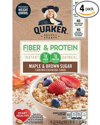 Quaker Instant Oatmeal Fiber Protein Previously Weight Control Maple Brown Sugar 8 Count Boxes Pack Of 4