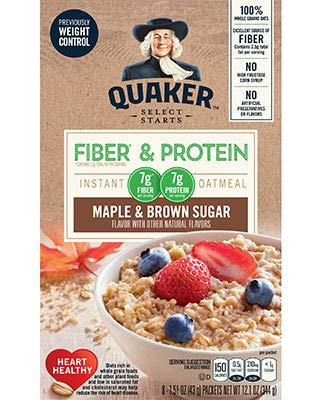 Quaker Instant Oatmeal Fiber&Protein (Previously Weight Control), Maple Brown Sugar, 8-Count Boxes (Pack of - Fiber Low Calorie