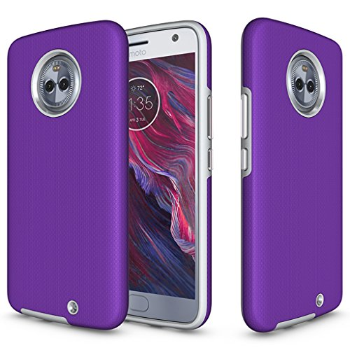 Bear Motion for Moto X4 - Shockproof TPU/PC Fusion Cover Case for Moto X4 (Moto X 4, Purple) ()
