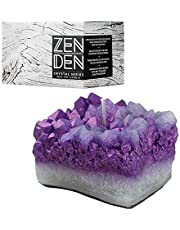 Zen Den Crystal Series - Quartz Crystal Cluster Shaped- Unscented Wax Candle - Handcrafted for Home Décor & Positive Energy (Amethyst / Purple)