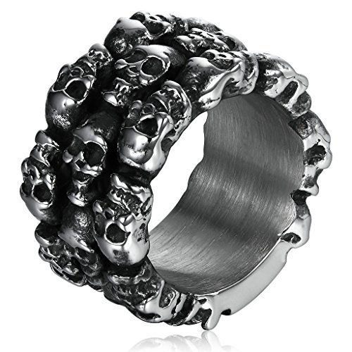 (Adisaer Stainless Steel Rings for Men Black and Silver Reto Punk Style Halloween 3D Skull Heads Goth Chic Rings Size)