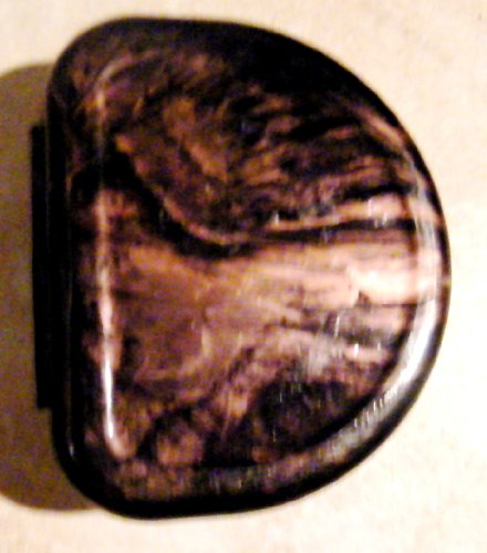 Designer Brown/Gold Swirl Dental Retainer Case Container Box for 1 Denture or Retainer + name label + Gem Stone.