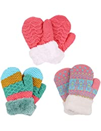 3 Pairs Kids' Sherpa Lined Knit Mittens Boys Girls Winter...