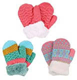 Set of 3 Girls Knit Mittens, Hot Pink+Blue/Mint Waffle Knit+Fair Isle/Bubblegum