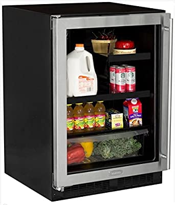 AGA Marvel ML24BRG2LS Beverage Refrigerator with Crisper, Left Hinge Stainless Steel Frame Glass Door, 24-Inch