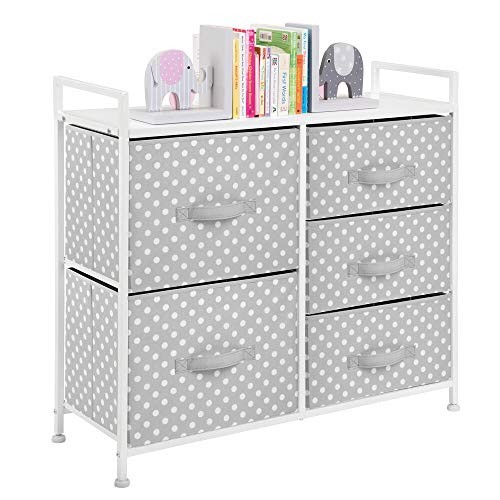 mDesign Wide Dresser 5 Drawers Storage Furniture – Wood Top, Easy Pull Fabric Bins – Organizer for Child/Kids Room or Nursery – Polka Dot Pattern, 32.6″ W – Gray with White Dots
